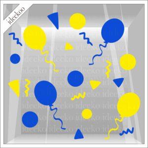 carnavalsticker Ossekoppenrijk confetti ballon, raamsticker carnaval, herbruikbare carnaval sticker