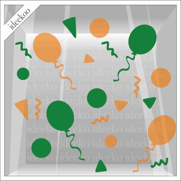 carnavalsticker kruikenstad confetti ballon, raamsticker carnaval, herbruikbare carnaval sticker