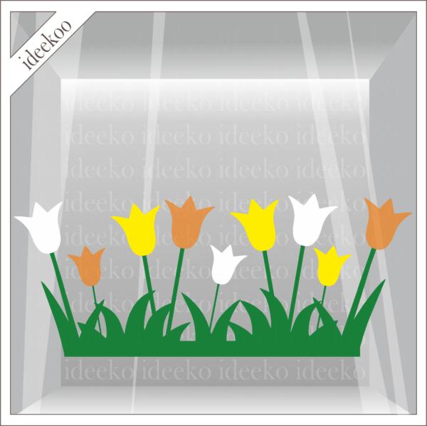 paas sticker, tulpen in gras, herbruikbare raamsticker