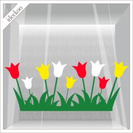 paas sticker, tulpen in gras, herbruikbare raamsticker, oeteldonk sticker, oeteldonk, carnaval sticker, carnavalversiering
