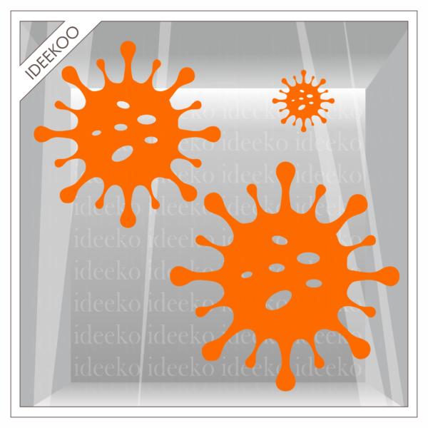 corona sticker, herbruikbare raamsticker coroan virus, COVID-19 virus sticker