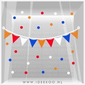 koningsdag sticker rood wit blauw oranje vlaggenslinger raamsticker EK WK versiering
