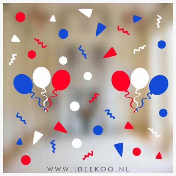 koningsdag sticker rood wit blauw vlaggenslinger raamsticker EK WK versiering