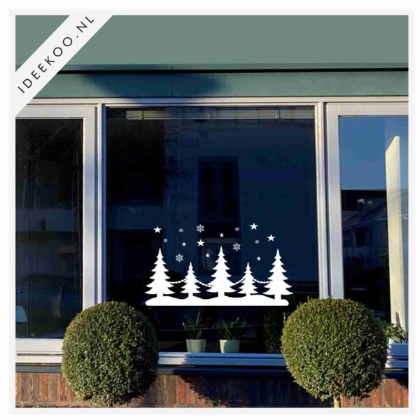 Raamsticker kerstbomen, Kerststicker, herbuikbare raamsticker kerst