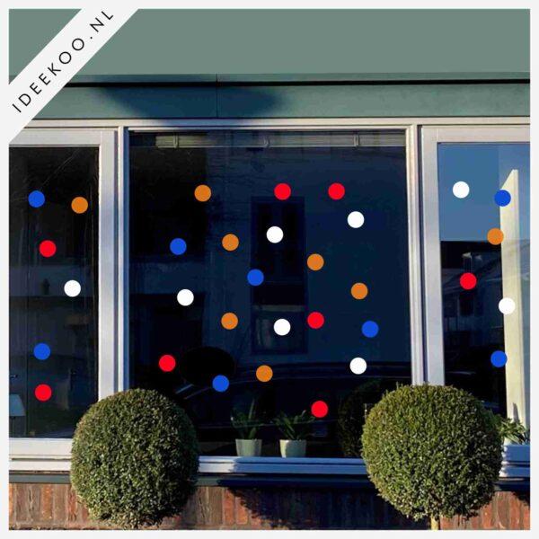 koningsdag sticker rood wit blauw oranje raamsticker koningsdag versiering