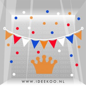 koningsdag sticker rood wit blauw oranje raamsticker kroon