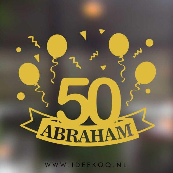 Raamsticker abraham, jubileum 50 jaar, herbuirkbare sticker abraham, jubileum sticker, jubileum sticker abraham