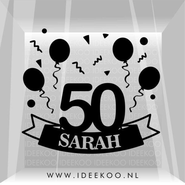 Raamsticker sarah, jubileum 50 jaar, herbuirkbare sticker sarah, jubileum sticker, jubileum sticker sarah
