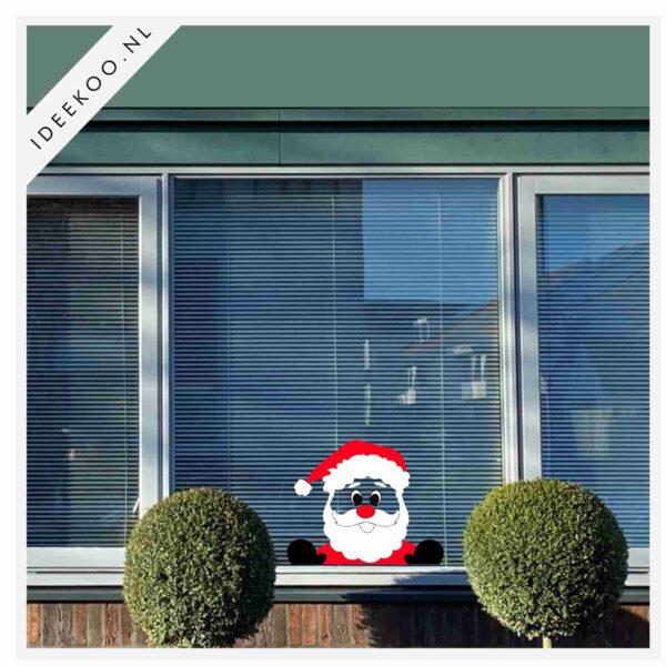 Raamsticker kerst, Kerst sticker, gluurkerstman, herbuikbare raamsticker kerst