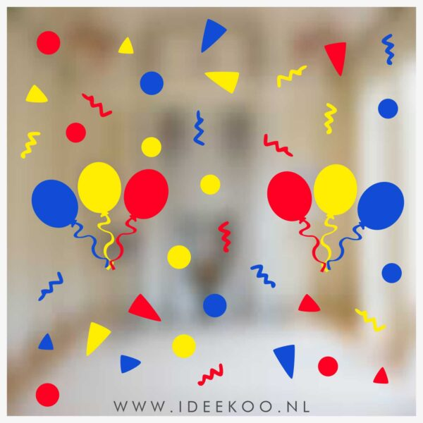 Raamsticker carnaval, carnavalsticker, carnaval sticker slinger confetti jokusriék