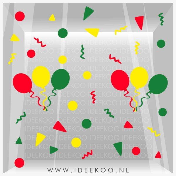 Raamsticker carnaval, carnavalsticker, carnaval sticker slinger confetti vastelaovend