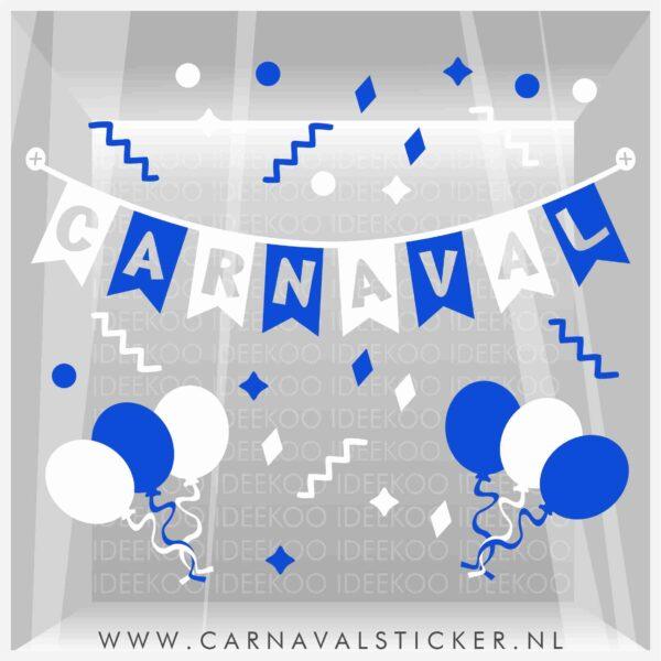 Raamsticker carnaval, carnavalsticker, carnaval sticker slinger confetti blauw wit