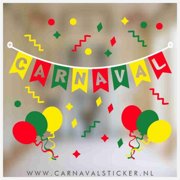 Raamsticker carnaval, carnavalsticker, carnaval sticker slinger confetti meestrich