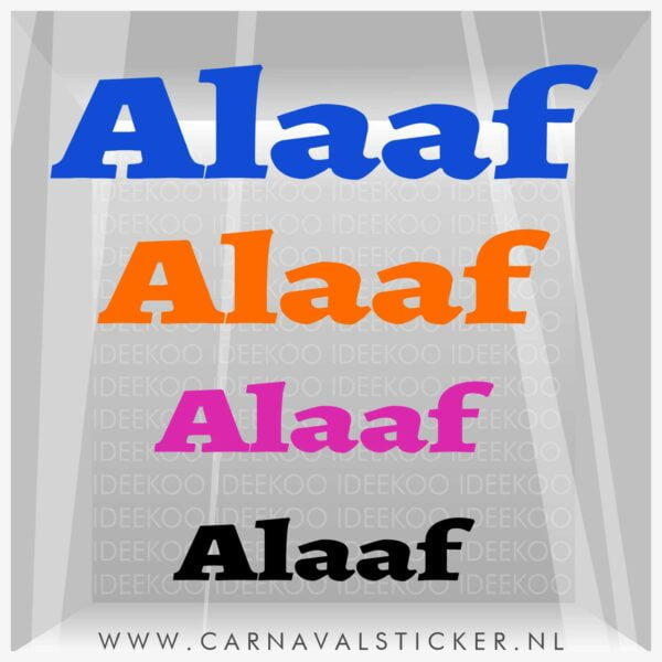 Alaaf, Raamsticker alaaf, herbruikbare sticker alaaf, carnaval sticker, carnavalsticker alaaf