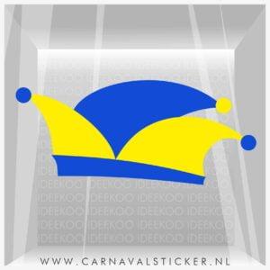 Carnaval sticker Snelvelbokkenland, Carnavalsticker prinsenmuts, Sticker steek, Carnavalsticker steek blauw geelon confetti