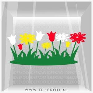 Paassticker bloemen, Raamsticker Pasen, Herbruikbare sticker pasen, paassticker,