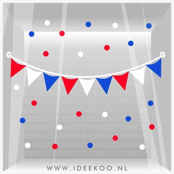 koningsdag sticker rood wit blauw vlaggenslinger raamsticker EK WK