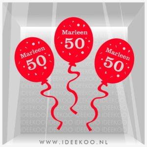Raamsticker abraham, Raamsticker sarah, Raamsticker 50 jaar, herbuirkbare sticker abraham, jubileum sticker, sticker sarah 50 jaar