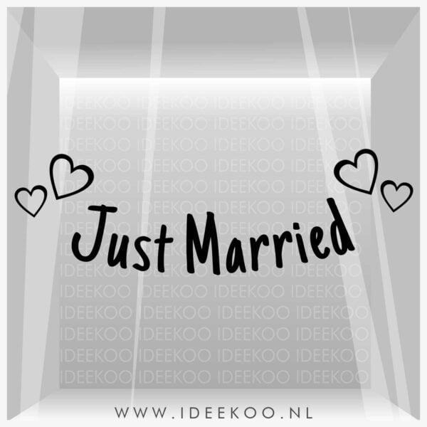 Just Married sticker trouwraamsticker trouw versiering huwelijk