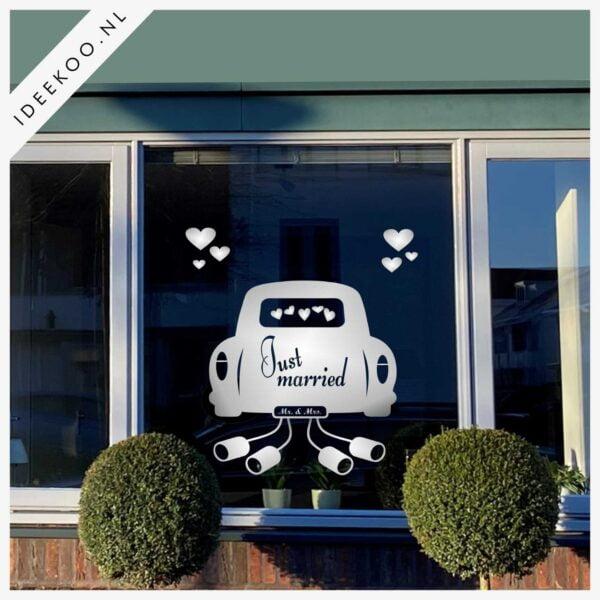Just Married auto sticker trouwraamsticker trouw versiering huwelijk