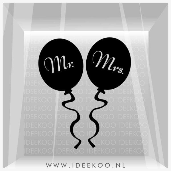 MR&MRS sticker trouwraamsticker trouw versiering huwelijk