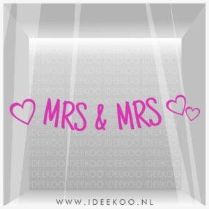 MRS&MRS sticker trouwraamsticker trouw versiering huwelijk