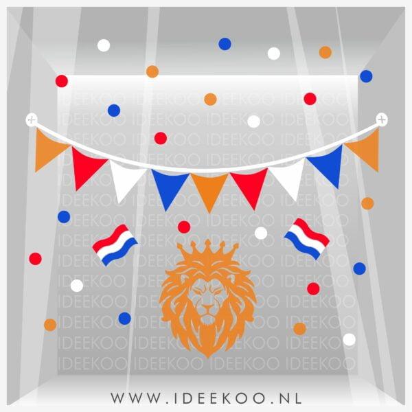 Raamsticker EK, EK, WK, voetbal sticker, oranje leeuw, EK versiering, EK sticker, verzierset oranje